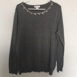 Jaclyn Smith grey rhinestone sweater